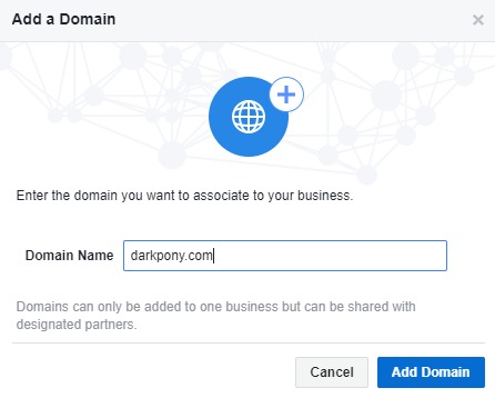 Business Settings - Add Domain Window